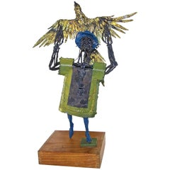 Original Bob Fowler Metal Art Work Sculptor Man Holding Eagle