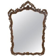 19th Century Italian Carved Walnut Mirror