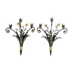 Pair of Parcel Gilt Bronze Sconces