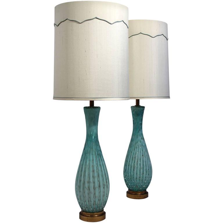Murano Bullicante Pair of Lamps with Original Shades Alfredo Barbini