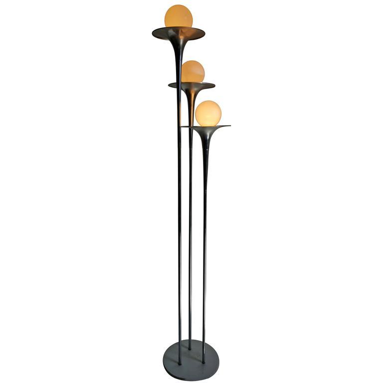 Italian mid century modern reggiani chrome trumpet floor for Reggiani chrome floor lamp