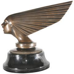 Bronze Art Deco Flying Lady Bust Statue, Car Mascot