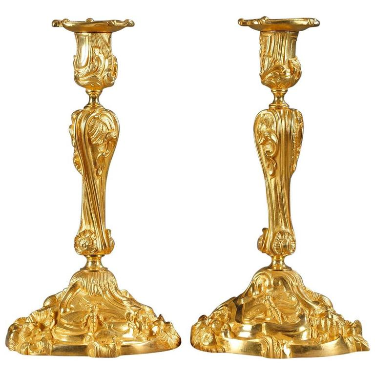 Pair of Gilt Bronze Candlesticks Decorated with Foliage and Animals For Sale