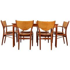Teak Dining Set by Finn Juhl Produced by Bovirke with Original Leather