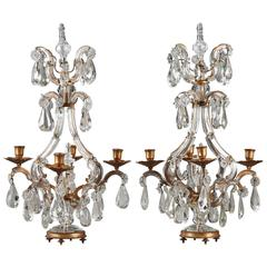 Pair of 19th Century Crystal and Gilt Bronze Candelabra