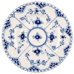 Blue Fluted Full Lace Royal Copenhagen Porcelain Dinnerware, 24 Plates