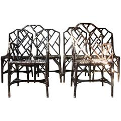 Set of Six Dryad Cane Chinese Chippendale Cockpen Edwardian Conservatory Chairs