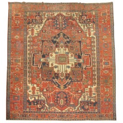 Pictorial Figure Antique Persian Serapi Carpet