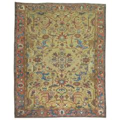 Persian Heriz Carpet with Mustard Gold Field