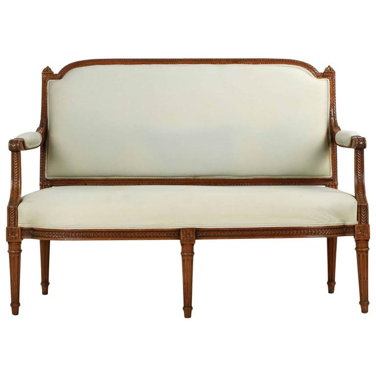 finely carved french louis xvi style antique settee sofa. Black Bedroom Furniture Sets. Home Design Ideas