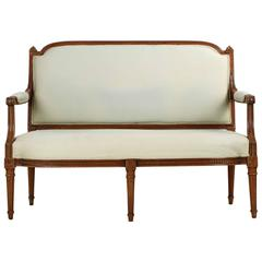 Finely Carved French Louis XVI Style Antique Settee Sofa Chaise, 19th Century