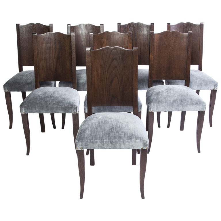 Stunning Set of Eight Art Deco Dining Chairs by Alfred Porteneuve For Sale