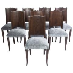 Stunning Set of Eight Art Deco Dining Chairs by Alfred Porteneuve