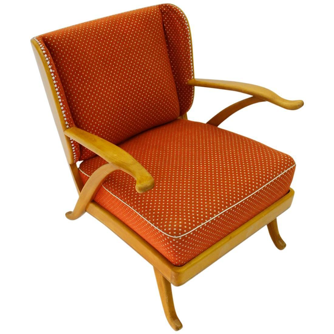 Vintage Italian Wooden Lounge Chair For Sale at 1stdibs