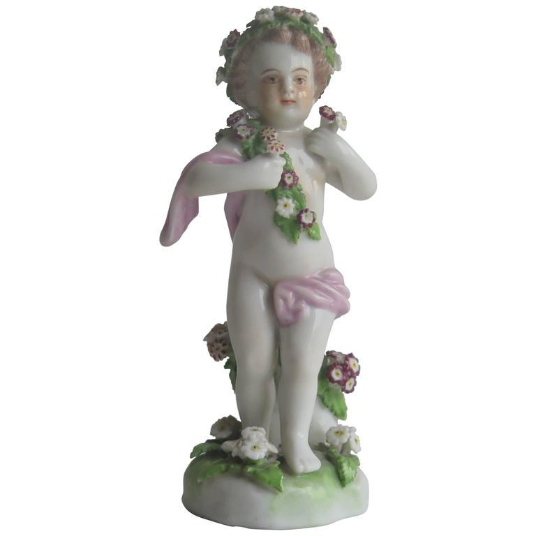 19th Century Samson Porcelain Cherub Putti Figurine, Gold Anchor Mark For Sale