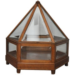 Early 20th Century Italian Fruitwood and Glass Display, circa 1910