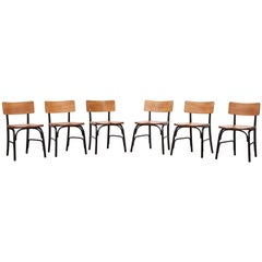 1930's black bentwood, oak Set of six Side Chairs by Fritz Hansen