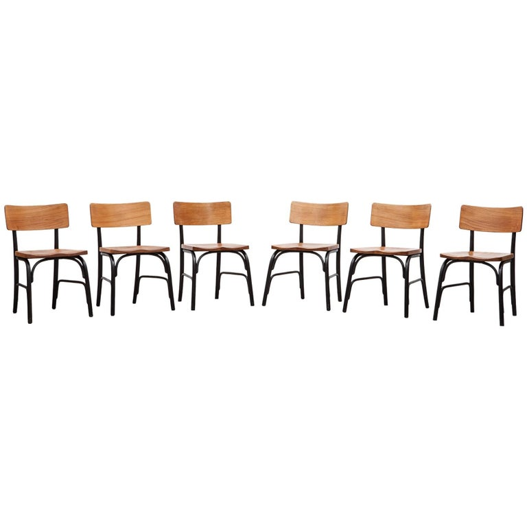 1930's black bentwood, oak Set of six Side Chairs by Fritz Hansen For Sale