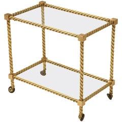 French Mid-Century Modern Brass Bar Cart
