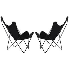 Pair of Knoll Hardoy Black Butterfly Chairs