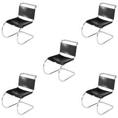 MR Black Leather Side Chairs for Knoll International, 1979 Year of Production