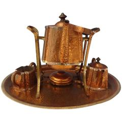 J. Heinrichs Copper Tea Set: Tray Kettle Sugar Creamer, Arts & Crafts Hollowware