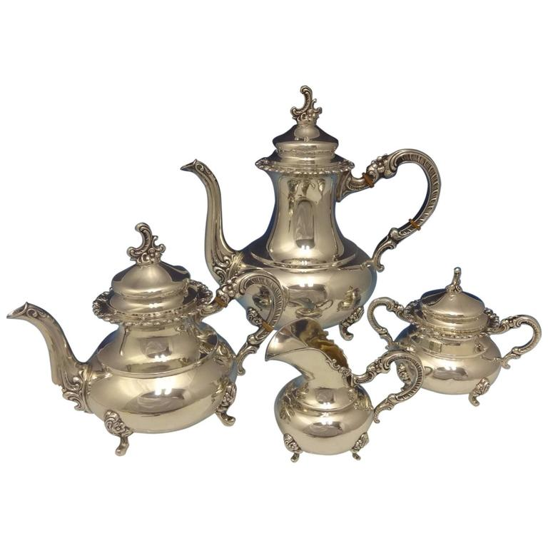 Heidelberg German Sterling Silver Tea Set Four-Piece Hollowware