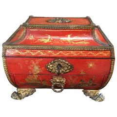 Charming Small Lacquer Chinoise Sewing Box, 19th Century