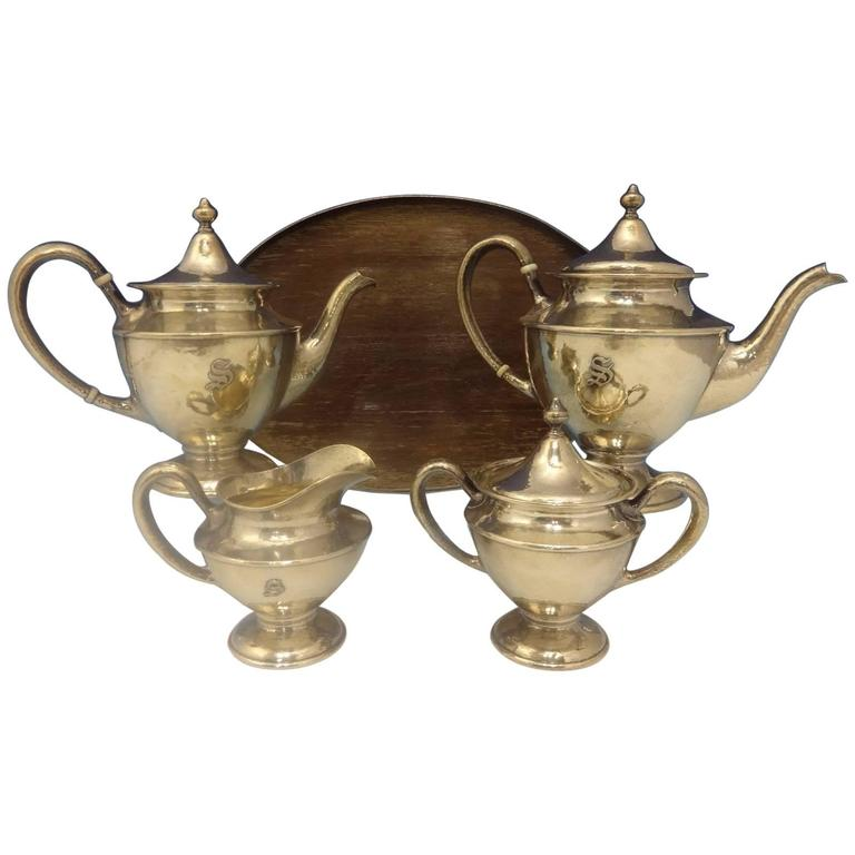 Antique Hammered by Shreve Sterling Silver Tea Set Five-Piece Hollowware