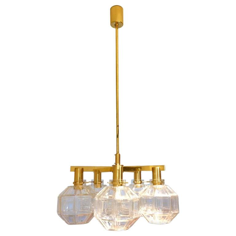Hans-Agne Jakobsson Brass Chandelier with Five Globes