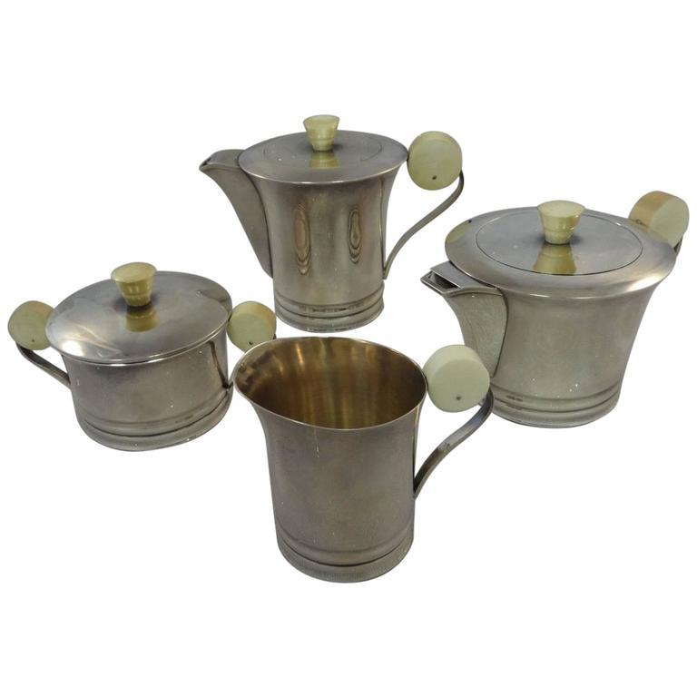 French .950 Sterling Silver Art Deco Tea Set Coffee Sugar Creamer Hollowware