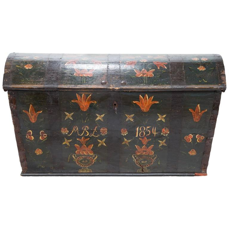 19th Century Swedish Hand Painted Dome Top Chest At 1stdibs