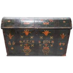 19th Century Swedish Hand-Painted Dome Top Chest