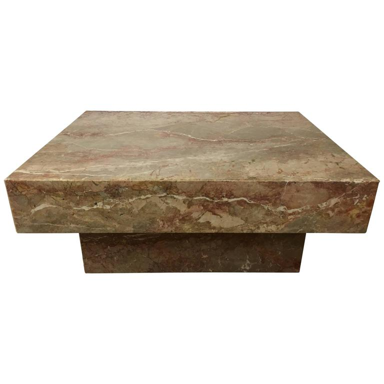 Substantial rectangular marble cocktail table for sale at for Marble top coffee table rectangle