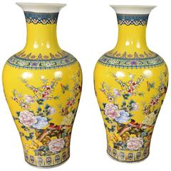 Pair of Chinese Ming Yellow Porcelain Vases Urns