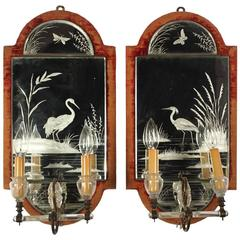 Pair of Etched Crystal and Brass Mirrored Wall Sconces, circa 1920