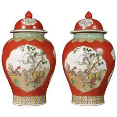 Pair of Chinese Qing Porcelain Ginger Jars Vases Temple Jars