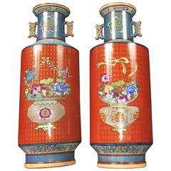 Pair of Chinese Qianlong Porcelain Rose Vases Urns