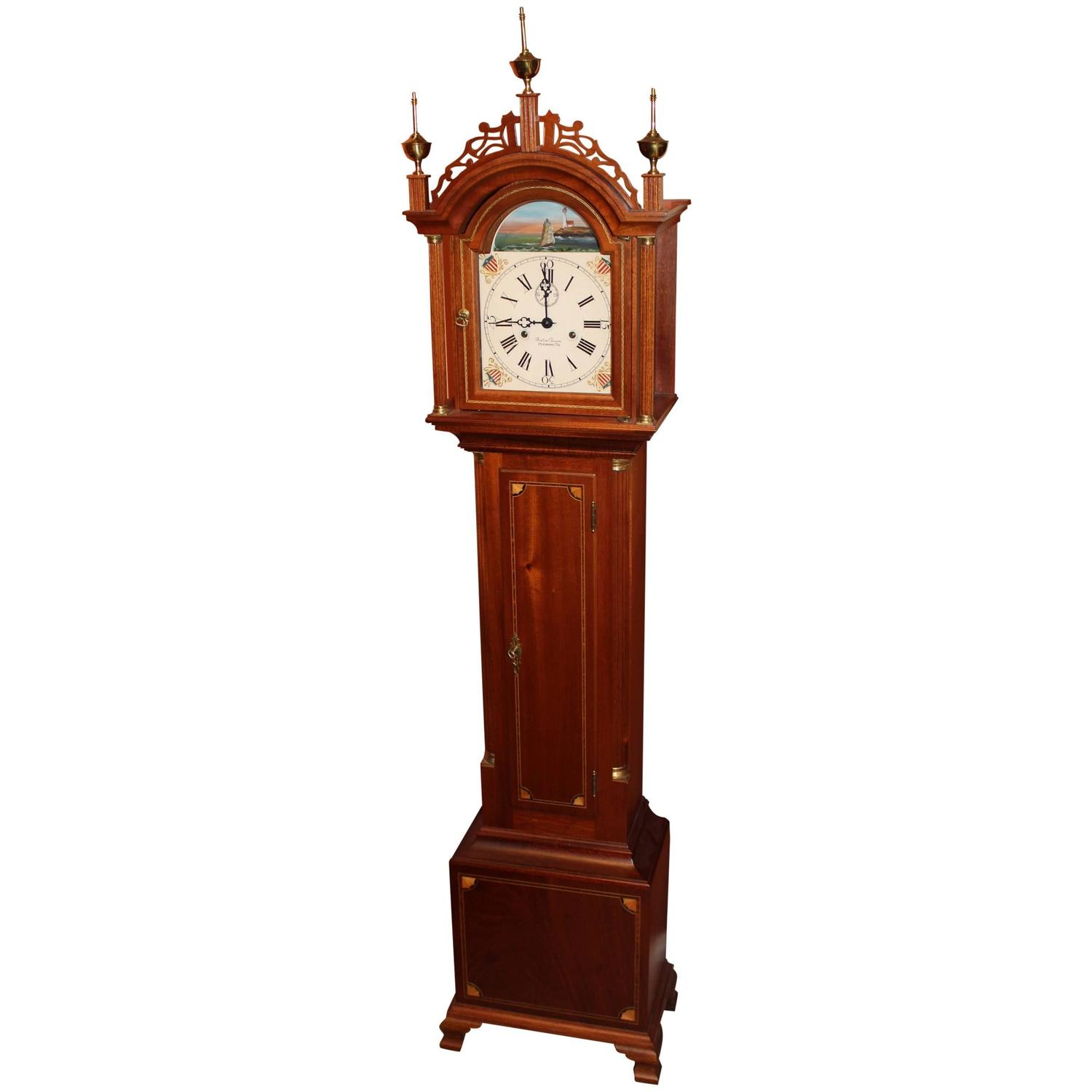 Foster S. Campos Mahogany Case Grandmother Tall Clock ...