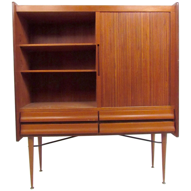 Tall Mid Century Scandinavian Modern Tambour Cabinet For