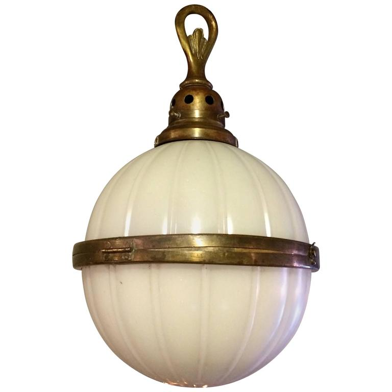 industrial ribbed milk glass and brass library globe pendant light at 1stdibs. Black Bedroom Furniture Sets. Home Design Ideas