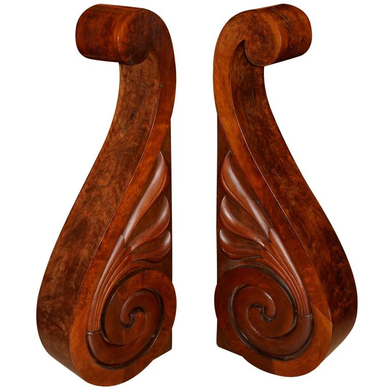Pair of Large Wooden Scroll Form Corbels by S.D. Willis, Fitchburg, MA