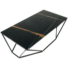 Dusk Coffee Table, Large in Hand Carved Black Marble and Blackened Steel