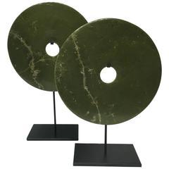 Pair of Graduating Museum-Mounted Jade Bi Discs