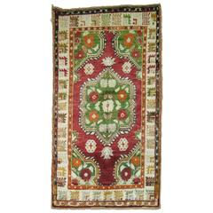 Vintage Turkish Oushak Colorful Throw Scatter Size Rug