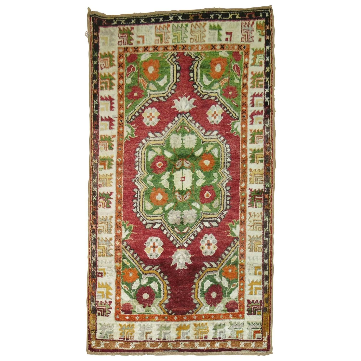 Vintage turkish oushak colorful throw scatter size rug for for Colorful rugs for sale