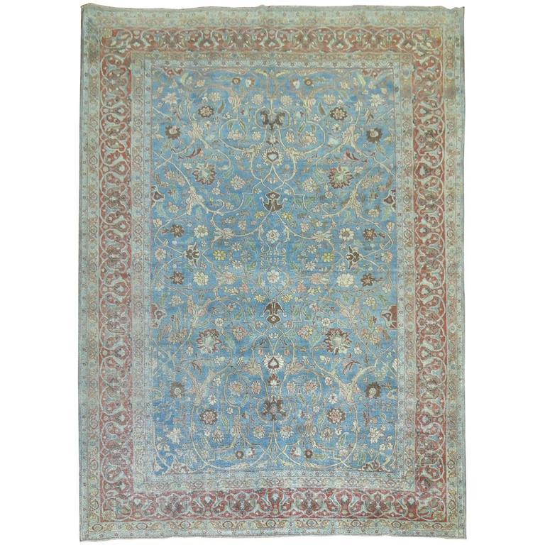 Blue Formal Antique Persian Tabriz Rug For Sale At 1stdibs