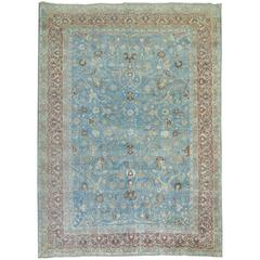 Blue Formal Antique Persian Tabriz Rug
