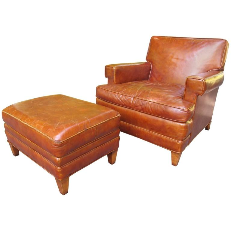 1940s Leather Club Chair With Ottoman At 1stdibs