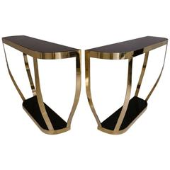Pair of Console Tables, Solid Brass with Black Glass and Shelf, Italian